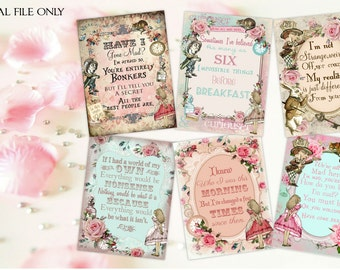 6 Alice in Wonderland Digital Quote Cards - Download,Printable,Tags,Toppers,Crafts,Scrapbooking
