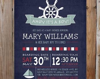 Nautical Baby Shower Invitation- Nautical Digital Invitation- Navy Blue And Red Baby Shower Invite