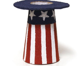 Patriotic Centerpiece Top Hat-Wreath Enhancement/Wreath Supplies/Fourth of July Decor/Summer-Spring Decor/9729807
