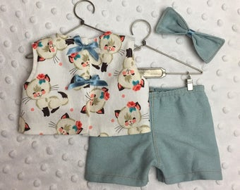 American Girl Handmade Vintage Cat Shirt, Shorts and Hair Bow Set
