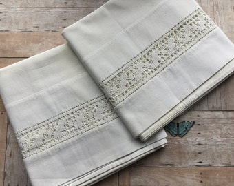 Plain but Pretty Pillowcases - Set of Two - White with White Crochet Inserts