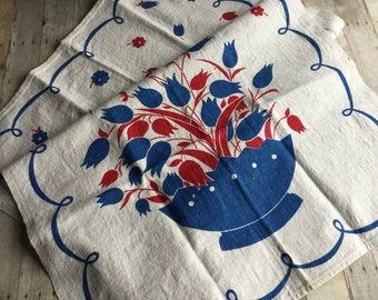 Vibrantly Colored Vintage Tea towel - Red White Blue