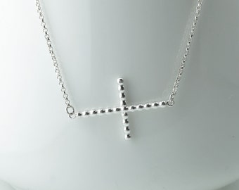 Sterling Silver Corss Necklace, 2 mm Beaded Silver Cross Necklace, Sideways Cross Neklace