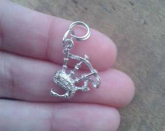 Vintage Sterling Silver Bagpipes Necklace Pendant Scottish Jewelry Necklace Charm