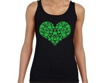 Ladies Shamrock Heart Tank Top