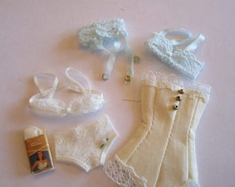 Unmentionables, grouping of 1/12th scale miniature dollhouse or diorama underthings.
