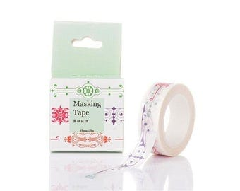 Roll of 10 m masking tape patterns arabesques 15mm