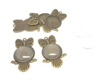 5 media Cabochons owls owls Bronze and glass Cabochons 5