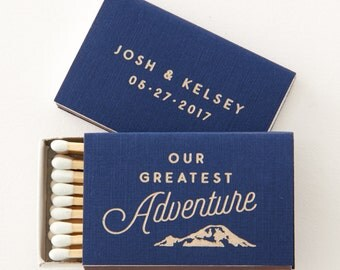 OUR GREATEST ADVENTURE Matchboxes - Wedding Favors, Wedding Matches, Personalized Matches, Custom Matchbox, Match Box Favor, Outdoor Wedding