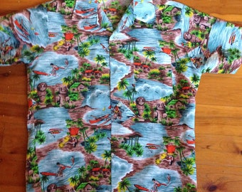 Vintage 60's 70's mens hawaiian button up FESTIVAL shirt SIZE S