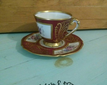 Sale..Limoges France Rene Claire Porcelaines D'art hand painted demitasse cup and saucer.