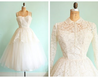 Vintage 1950s White Lace and Tulle Strapless Tea Length Wedding Gown with Bolero | Size X-Small
