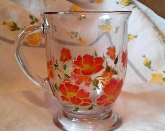 Handpainted Poppy Mug. Gift for her. Floral. Stained glass.