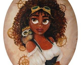 Olive Steampunk Girl Fine Art Print