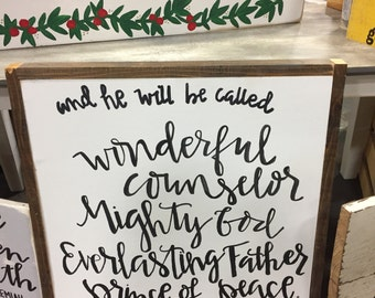 Isaiah 9:6, scripture signs, wood signs, Christmas signs
