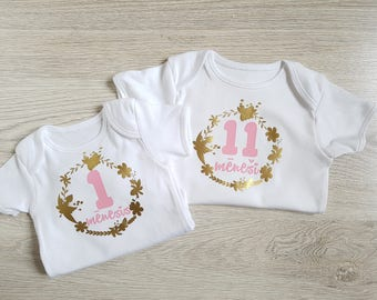 Baby monthly onesies set / baby monthly floral / one year onesie set / 1 year baby clothes / gold baby onesie set / baby onesie gift set