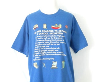 Vintage Secretary Shirt 1980's School Secretary T-Shirt Novelty T-Shirt Top Ten Reasons to Become a School Secretary Shirt