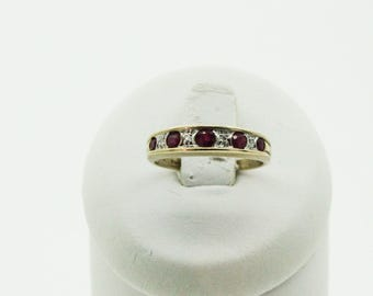 A 9ct Gold Ruby And Diamond Half Eternity Ring   SKU960