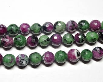 High Quality Ruby Zoisite, Faceted Ruby Zoisite Beads, Full Strand, 9.5 mm, Top Quality
