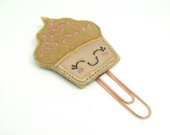 Rose gold cupcake Planner clip, Cupcake rose gold paper clip,
