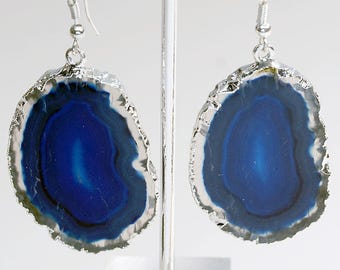 Silver Plated Blue Agate Slice Earrings (AE26BT)