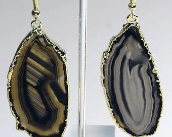 Gold Plated Black Agate Slice Earrings (AE19BT)