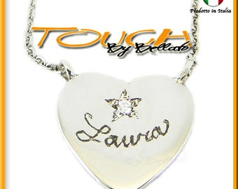 Silver necklace engraved with your name and zircon 925.000
