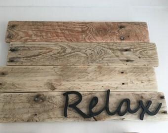 Handmade Relax wooden wall sign