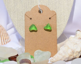 Beach Glass   Sea Glass Stud Earrings