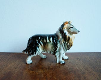 1950's Vintage Collie / Lassie Ceramic Dog Figurine