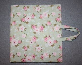 Art and activity bag, travel tote, pencil case with zip and note pad holders, A5. Tilda summer floral fabric.
