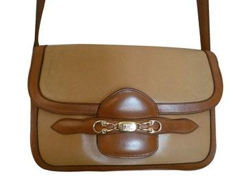 Celine - bag shoulder strap leather two tone - vintage 70's