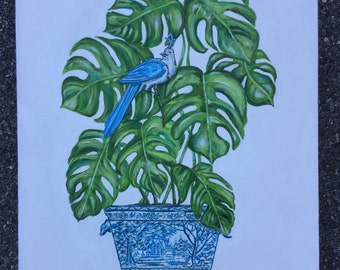 Chinoiserie Tropical Plant original  painting 24 x 30 inches