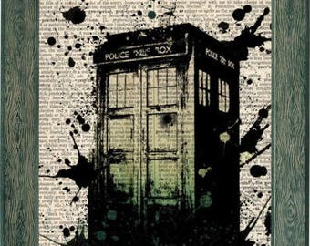 Tardis art print on 8x10 upcycled vintage dictionary page, Dr Who tardis print, Tardis art, doctor who art, dr who tardis, tardis poster