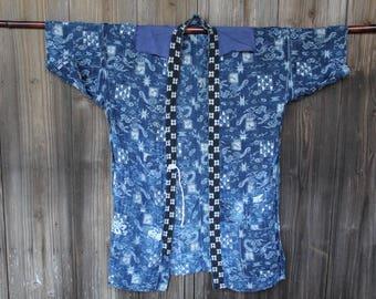 Vintage indigo sashiko stitched hemp boro noragi jacket