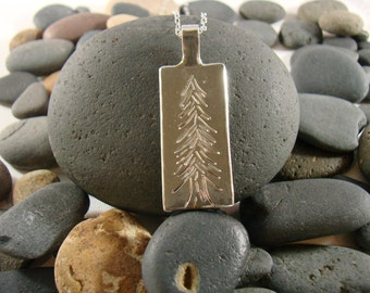 Sterling Silver Etched Evergreen Tree Pendant
