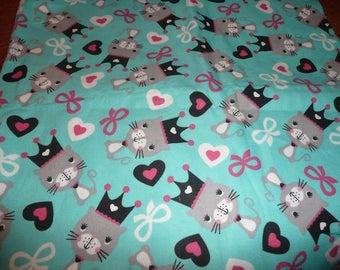 "3/4 Yard x 44"" Jo-Ann Cats With Crowns Print Flannel Print Fabric"