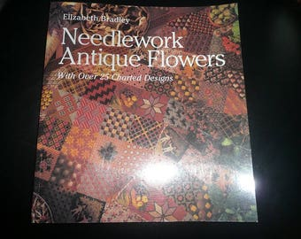 Elizabeth Bradley Needlework Antique Flowers Softcover Book