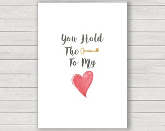 Key to my heart card, Valentines card, love greetings card