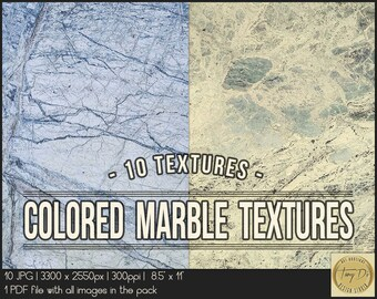 Colored Marble Textures | 8.5x11 Printable Digital Papers | Set of 10 Textured Scrapbook Papers | Digital scrapbook | Photo Paper overlays