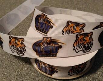LSU Ribbon, Team Ribbon, College Ribbon, Football Ribbon, Bow Making Ribbon