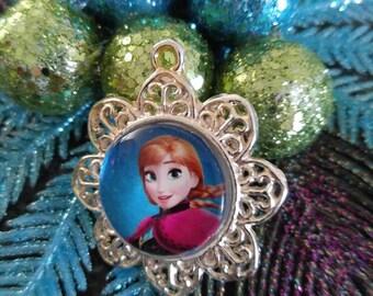 Anna pendant, Frozen pendant, girls pendant, necklace pendant, chunky bead pendant