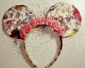 Pink Floral Couture Mouse Ears