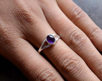 African Amethyst Sterling Silver Ring, Stacking Ring, Cabochon Ring, 925 Silver Ring, Natural Gemstone Rings - SKU 456
