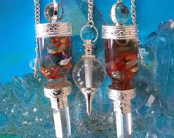 3 Chakra Crystal Silver CHAMBER DOWSING PENDULUM, Lapis Lazuli, Amethyst, Quartz Ball With 3 Storage Pouches, Divination