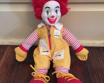 Vintage Ronald McDonald Plush Doll/80's McDonalds/Vintage Fast Food