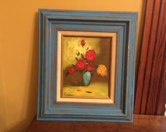 Flower Oil Painting Farmhouse, Shabby Chic Blue Frame/Pop of Color Art