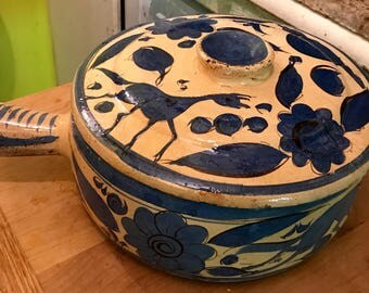 Vintage 1950 Handpainted Earthenware Mexican Tortilla Warmer With Lid