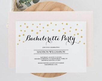 Invite template etsy printable bachelorette party invite template gold confetti bridal invitation instant download editable pdf stopboris Gallery