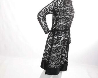 FREE US SHIPPING Vintage Sheer Lace Black Mini Dress
